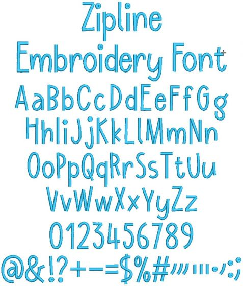 Zipline Embroidery Font