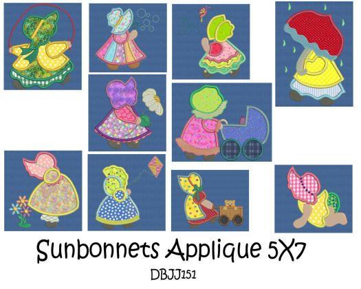 Sunbonnets Applique 5x7