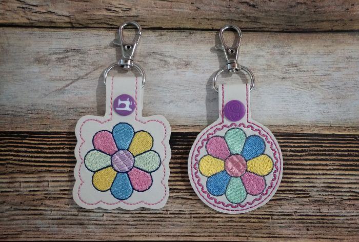 In The Hoop Snap Tab Key Fob Dresdan Plate Quilt Block Designs by JuJu Machine Embroidery Designs