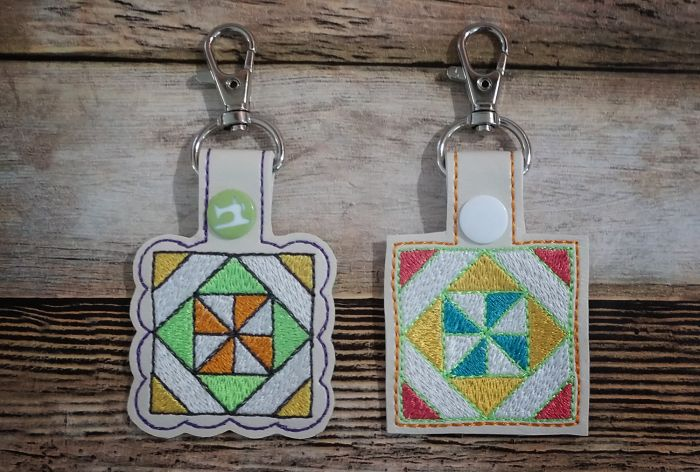 In The Hoop Snap Tab Key Fob Pinwheel in Block Quilt Block Designs by JuJu Machine Embroidery Designs