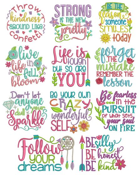 Inspired Sayings Set 4 Machine Embroidery Designs by JuJu