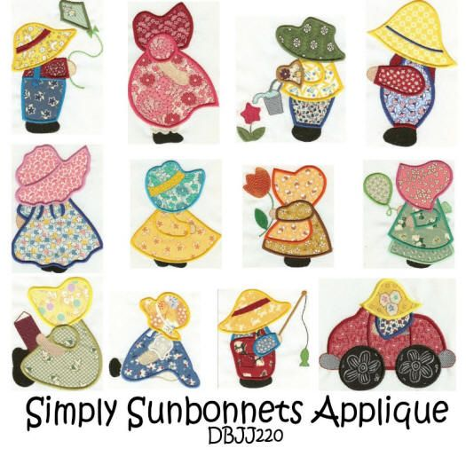 Simply Sunbonnets Applique 4x4 and 5x7