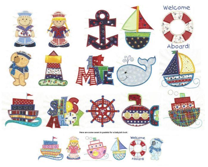 ships ahoy nautical applique machine embroidery designs