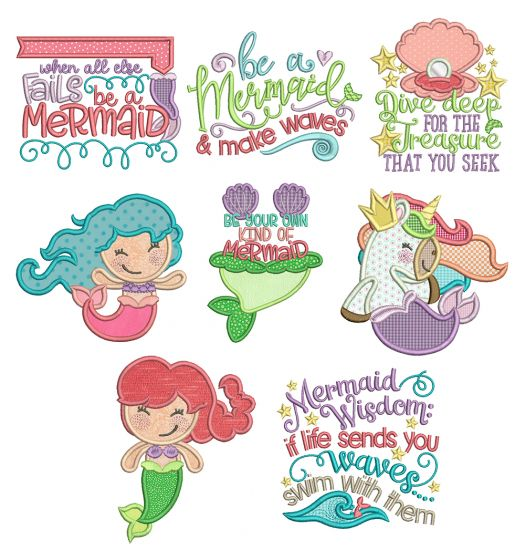 Be A Mermaid Applique Machine Embroidery Designs By JuJu