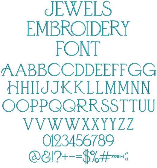 Jewels Font Digital Machine Embroidery Designs by JuJu