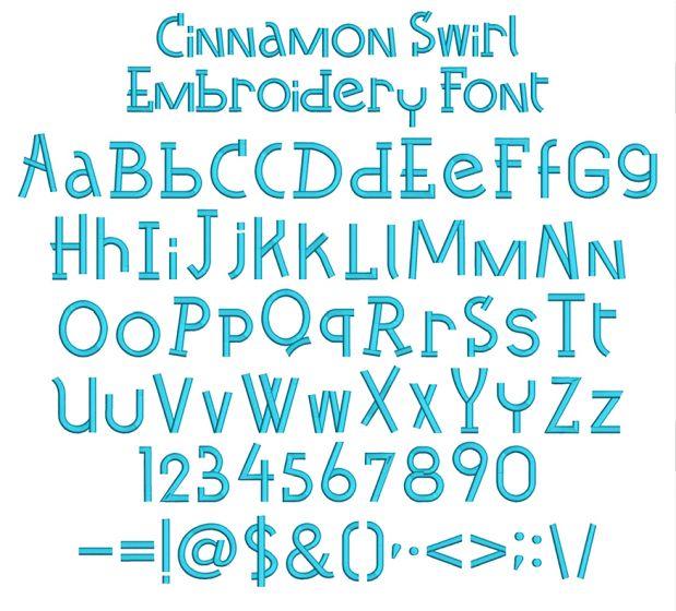 Cinnamon Swirl Embroidery Font Machine Embroidery Designs by JuJu