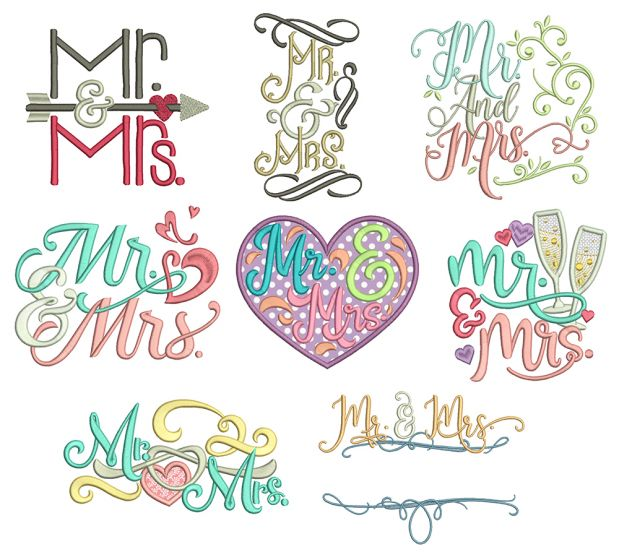 Mr and Mrs Word Art Machine Embroidery Designs by JuJu