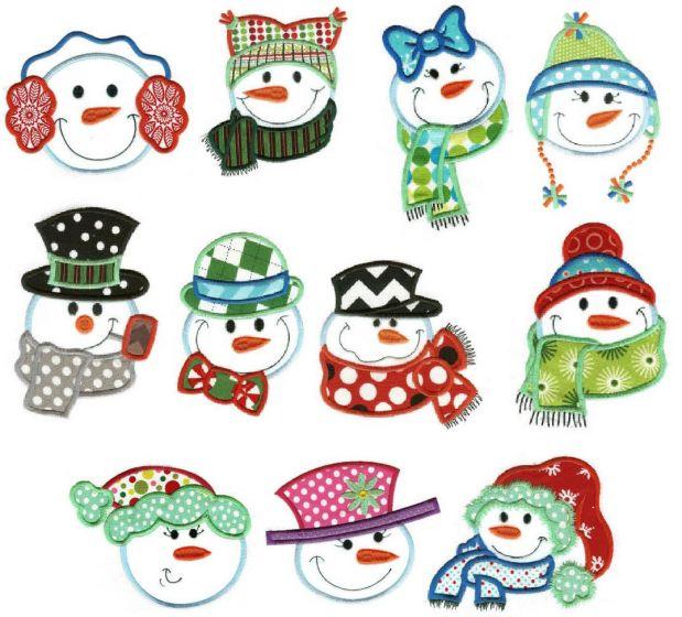 Snowman faces applique machine embroidery designs