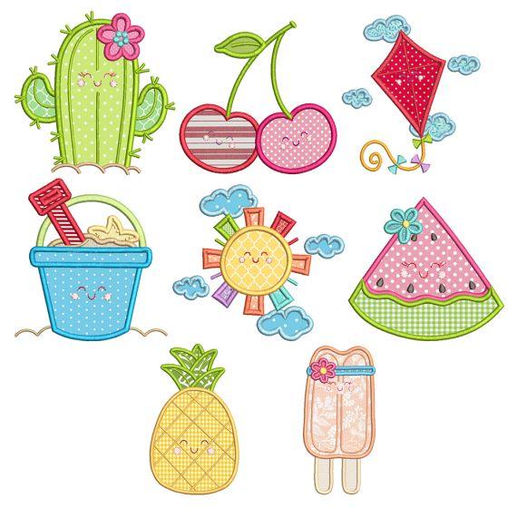 Sweet Summer Applique Pineapple Cactus Watermelon kite Sun pail cherries machine embroidery designs by juju
