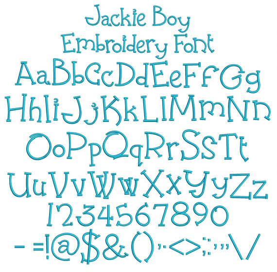 Jackie Boy Embroidery Font Machine Embroidery Designs by JuJu
