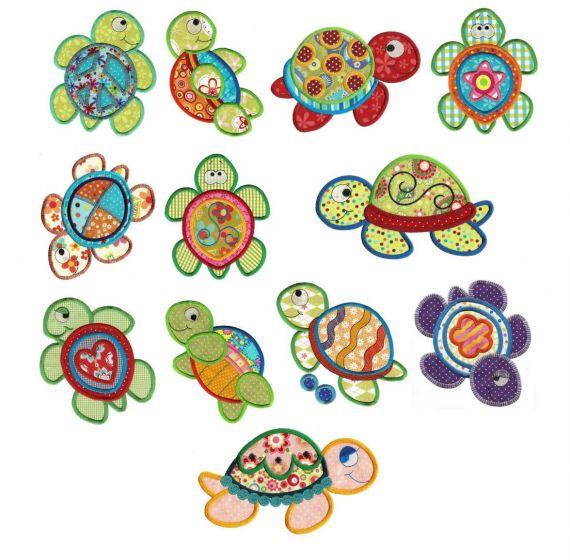 Sea turtles applique machine embroidery designs