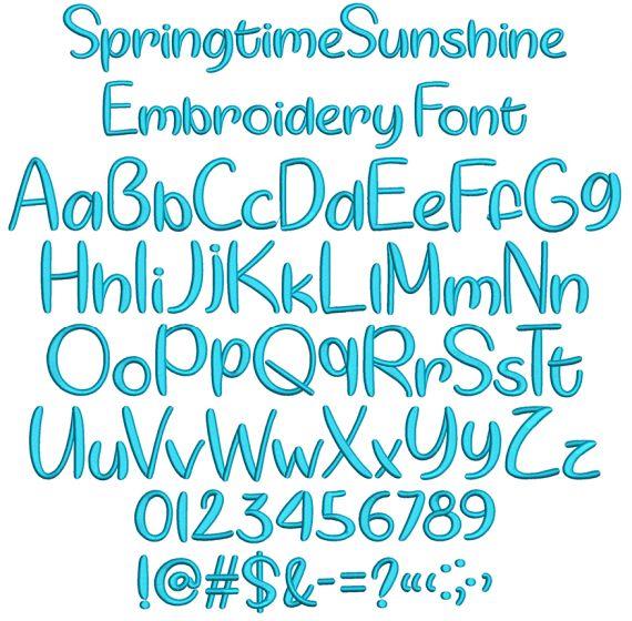 Springtime Sunshine Embroidery Font