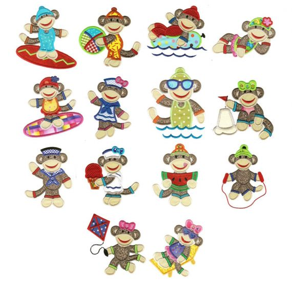 Summer sock monkeys applique jumbo machine embroidery designs large hoop