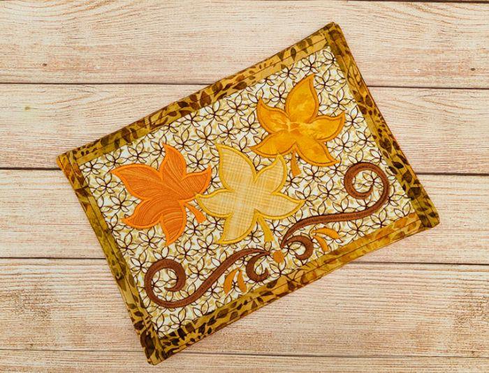 ITH Autumn Leaves Mug Rug Digital Embroidery Machine Designs by JuJu