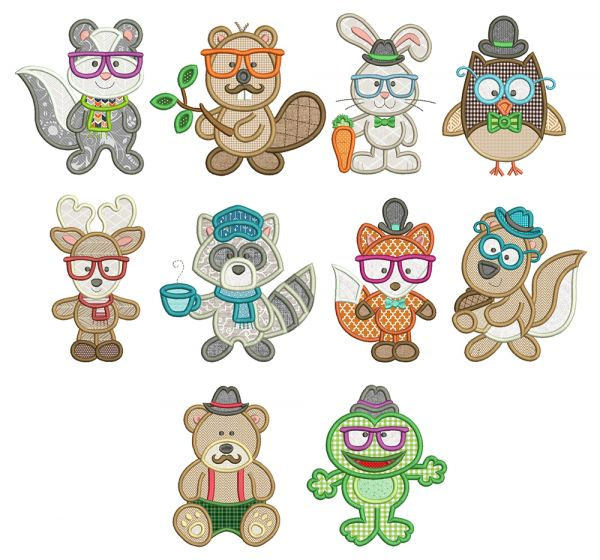 Woodland Hipsters Applique Machine Embroidery Designs By JuJu