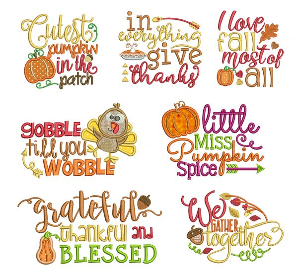 Fall Autumn Harvest Sayings Word Art Machine Embroidery Designs by JuJu
