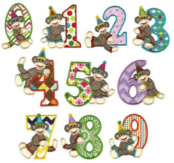 Sock Monkey numbers applique machine embroidery designs