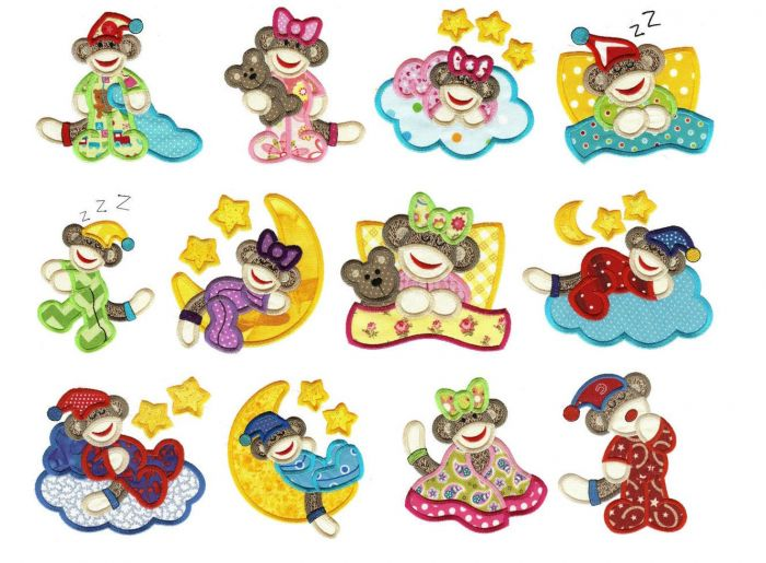 Sleepy bed time sock monkeys applique machine embroidery designs