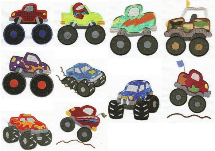 Monster Trucks Applique