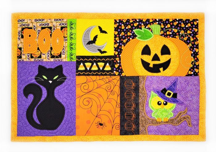 In The Hoop Halloween Placemat Machine Embroidery Designs by JuJu