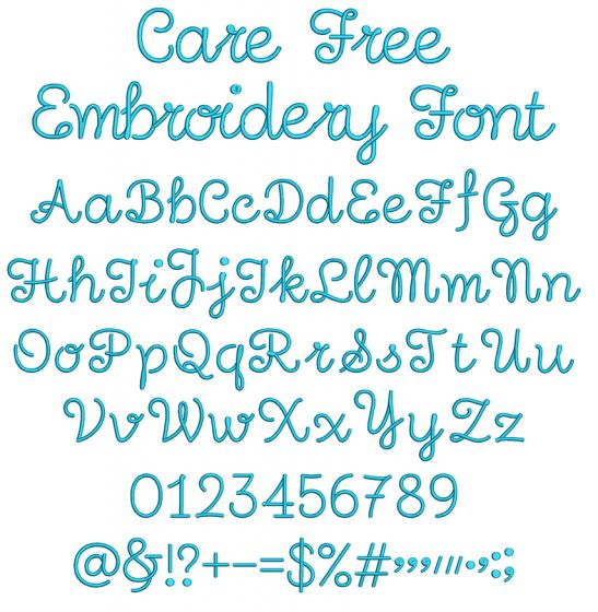 Care Free Embroidery Font