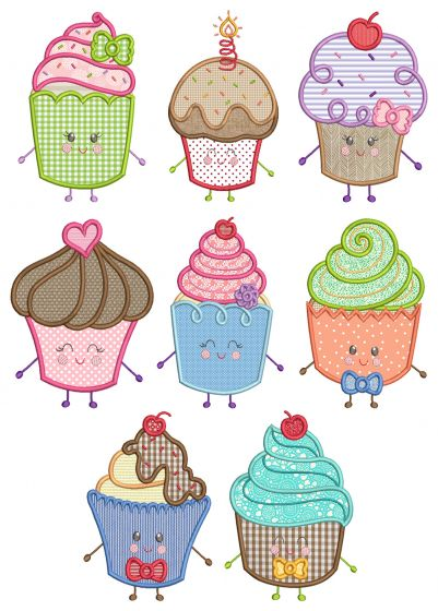 Cupcake Cuties Machine Embroidery Designs by JuJu