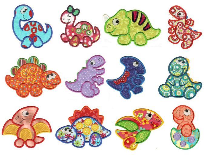 Cute dinosaurs dino crossing applique machine embroidery designs