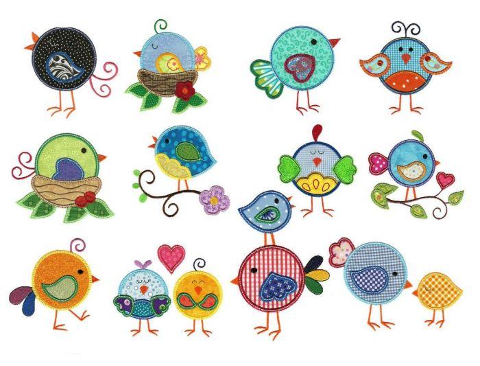 Cute round sweet tweetie birds applique machine embroidery designs