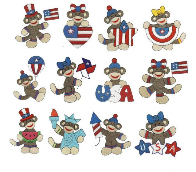 Patriotic Sock Monkeys Filled machine embroidery designs by juju