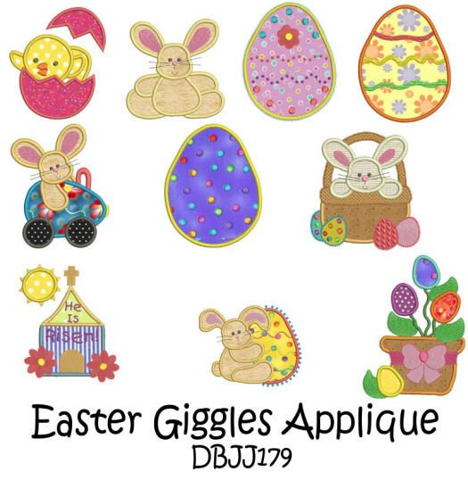 Easter Giggles Applique 4x4 and 5x7