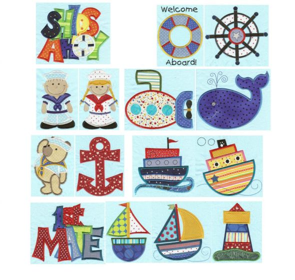 Ships ahoy jumbo nautical applique machine embroidery designs