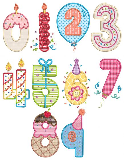 Birthday Numbers Applique Machine Embroidery Designs By JuJu