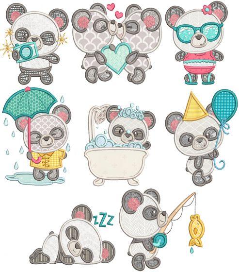 Cute Pandas Applique Machine Embroidery Designs by JuJu