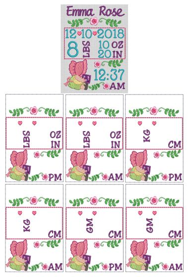 Sunbonnet Birth Announcement Template Machine Embroidery Designs by JuJu
