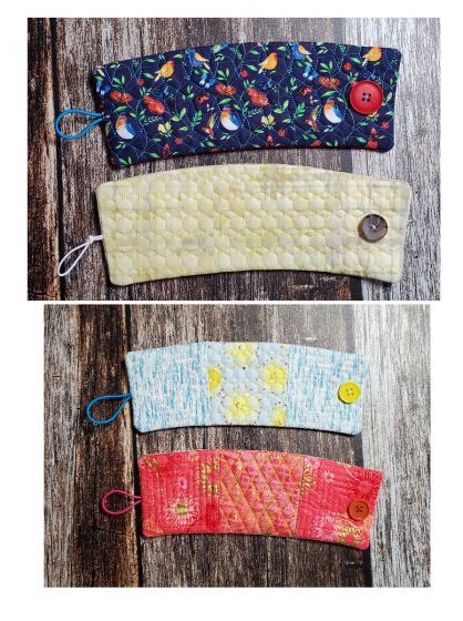 Designs by JuJu In The Hoop Coffee Wrap Button Closure Machine Embroidery Designs