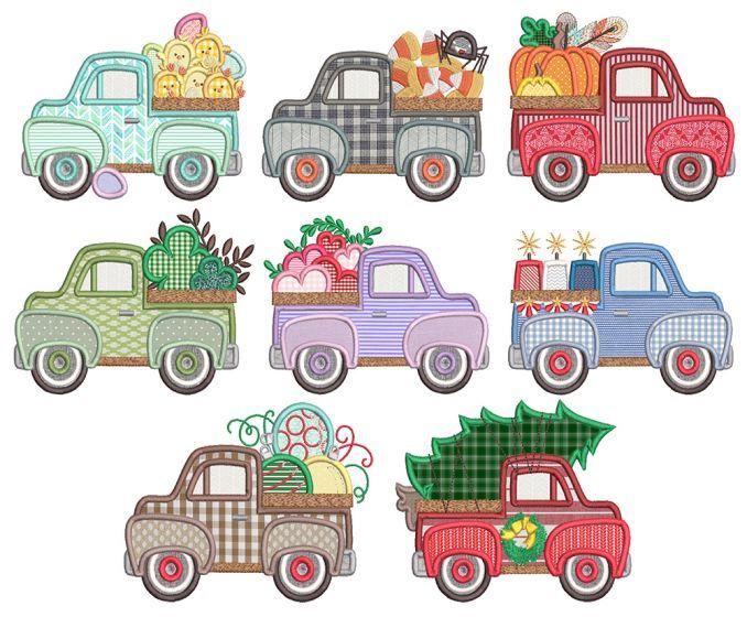 Vintage Truck Holidays Applique