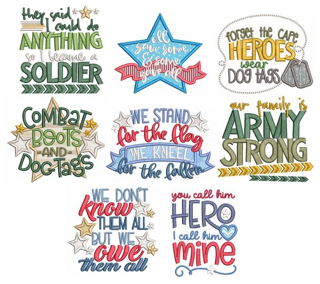 Military Word Art Machine Embroidery Designs By JuJu