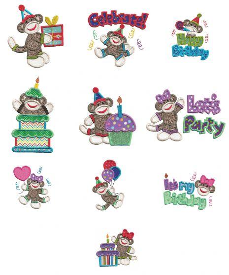 Happy Birthday Sock Monkeys Applique machine embroidery Designs by JuJu