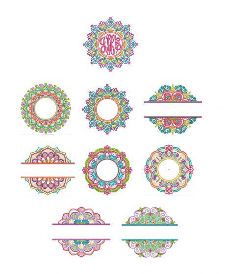 Marvelous Mandala Monogram Frames Machine Embroidery Designs by JuJu