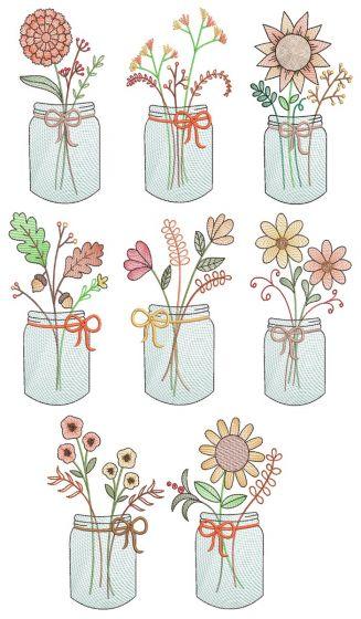 Vintage Sketch Fall Mason Jars