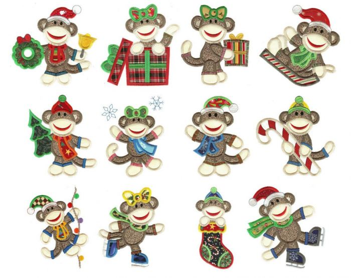Christmas sock monkeys applique machine embroidery designs
