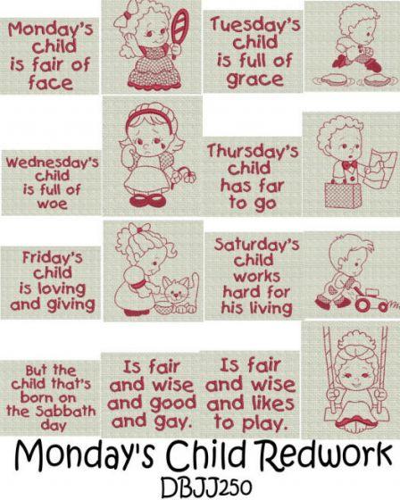 Monday's Child Redwork