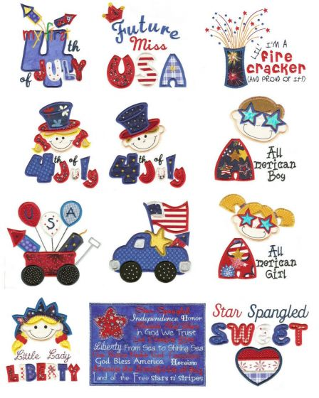 Fun fourth of July patriotic applique machine embroidery designs