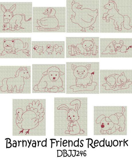 Barnyard Friends Redwork