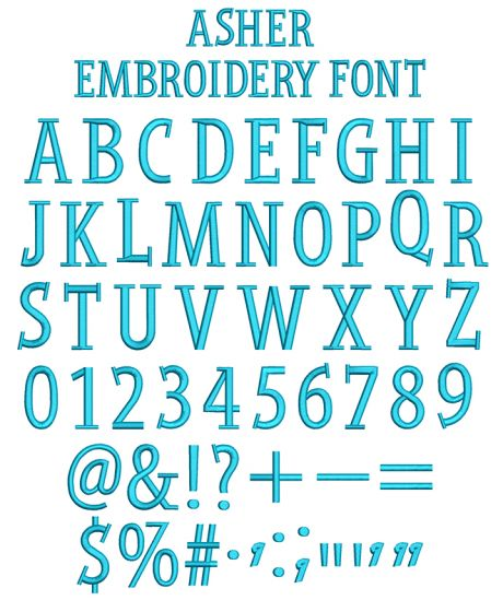 Asher Embroidery Font
