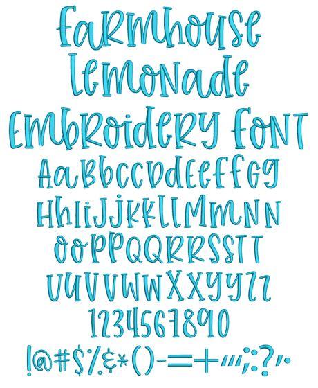 Farmhouse Lemonade Embroidery Font