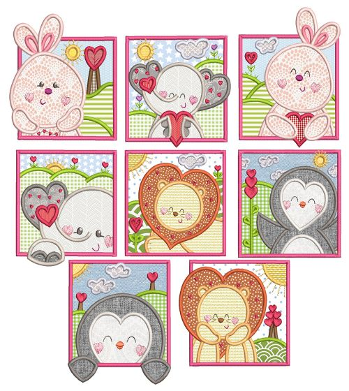 Valentine Animal Squares Applique Machine Embroidery Designs by JuJu
