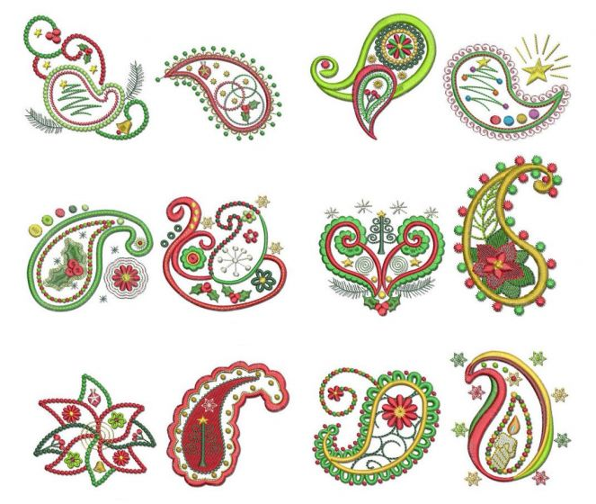 Christmas paisley filled machine embroidery designs