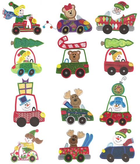 Christmas on Wheels Applique Machine Embroidery Designs by JuJu