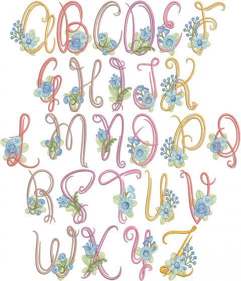 Swirly Flower Alphabet Digital Machine Embroidery Designs by JuJu